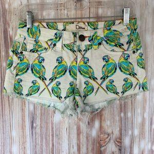 Dittos- Parrot Print Denim Shorts- Sz. 25